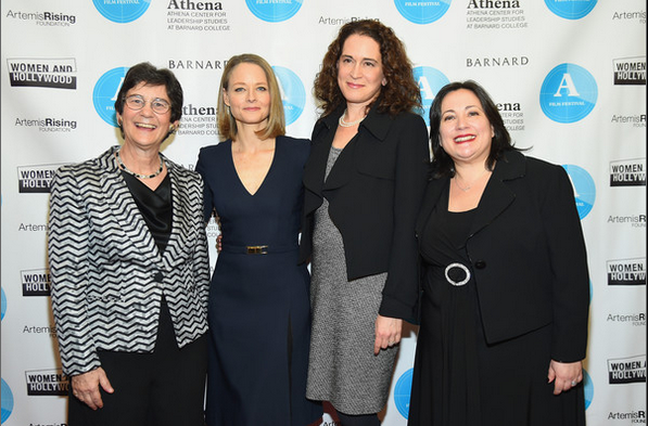 Athena Festival co-founder Kathryn Kolbert, actress and honoree Jodie Foster, Barnard College President Debora Spar, and Athena Festival co-founder Melissa Silverstein attend the opening night of the 2015 Athena Film Festival at Barnard College.