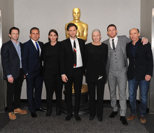 Writer Dan Futterman, actor Steve Carell, producer Megan Ellison, director/producer Bennett Miller, actress Vanessa Redgrave, actor Channing Tatum, and producer Jon Kilik attend The Academy of Motion Picture Arts and Sciences official Academy screening of 'Foxcatcher' (2014.)