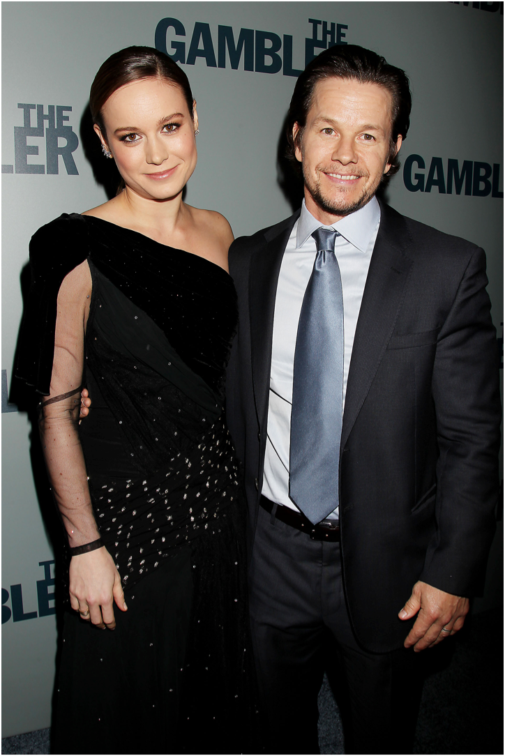 Brie Larson and Mark Wahlberg attend the New York City Premiere of 'The Gambler' at AMC Lincoln Square Theater.