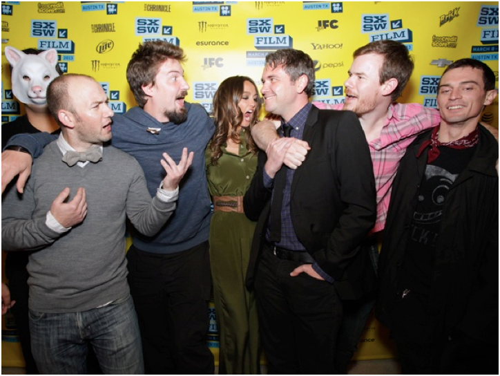 'You're Next' actors Simon Barrett, Lane Hughes, Sharni Vinson, Rob Moran, Joe Swanberg, and Nicholas Tucci at SXSW 2013.