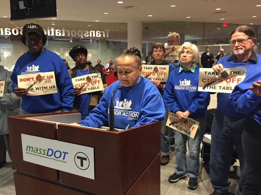 "North shore member Kathy Paul speaking at the MBTA Control Board meeting about the importance of keeping RIDE ""premium"" service for that service the senior and disabled communities"