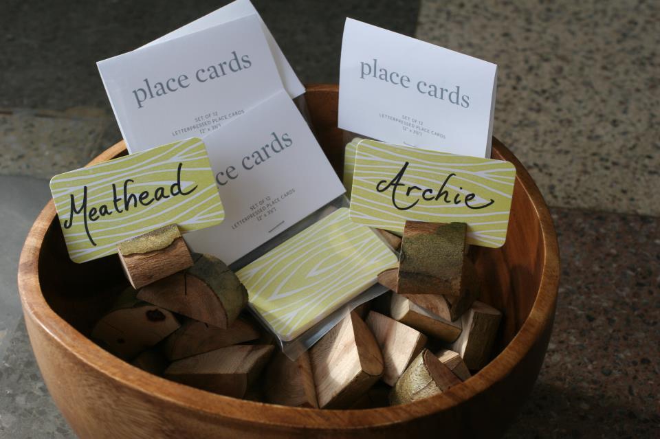 wood placecard holders