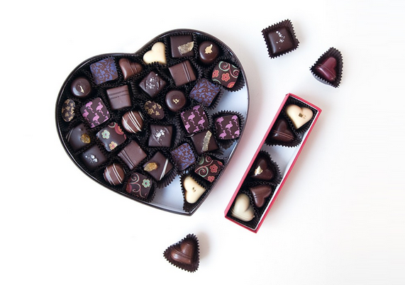 """Great Big Heart"" 32-piece, and ""All Hearts"" 6-piece assorted bonbons (Image via BlackDinahChocolatiers.com)"