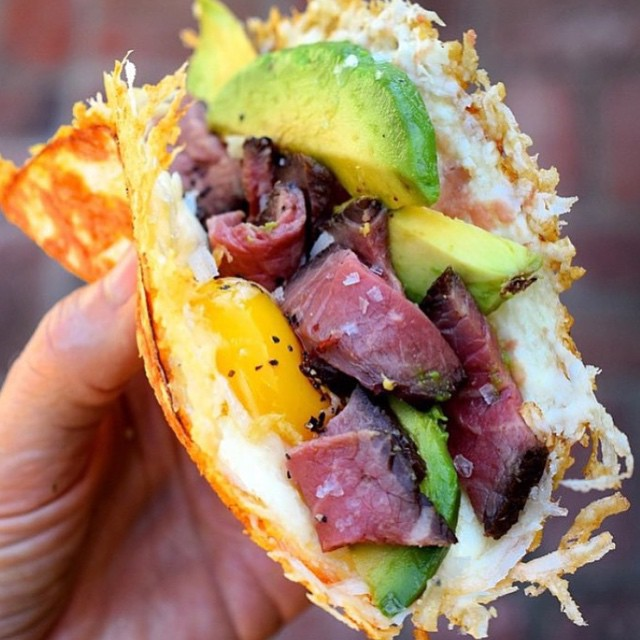 Steak and Eggs Taco (with pan fried cheese instead of tortilla) - FOODBEAST