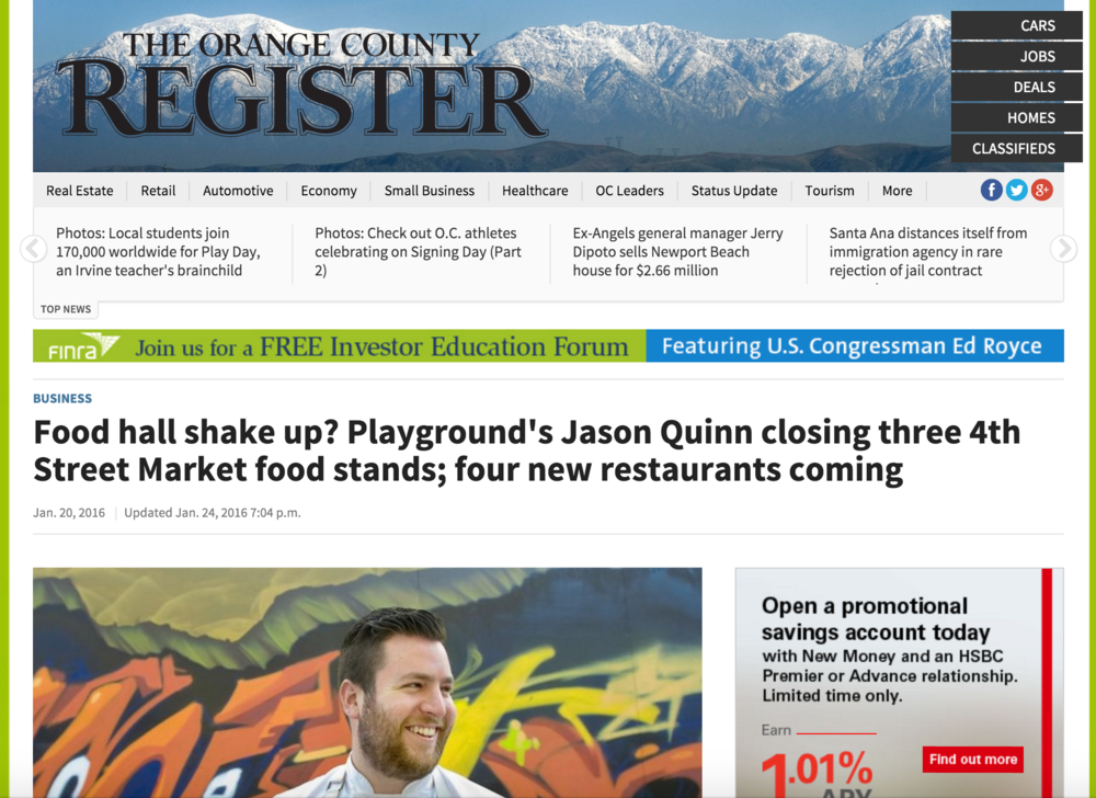 OC Register Article highlights vendor changes for 2016 including Terra, Jinny's and others