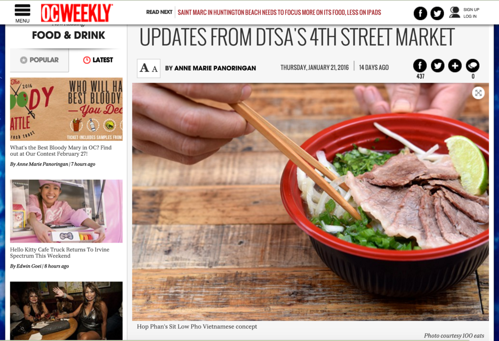 OC Weekly Article features new vendors at 4SM including, Pig Pen, Sit Low Pho and others