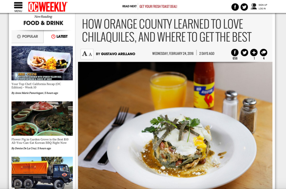 OC Weekly Article highlights 4SM's KTCHN DTSA and chef Barron's top Chilaquiles dish