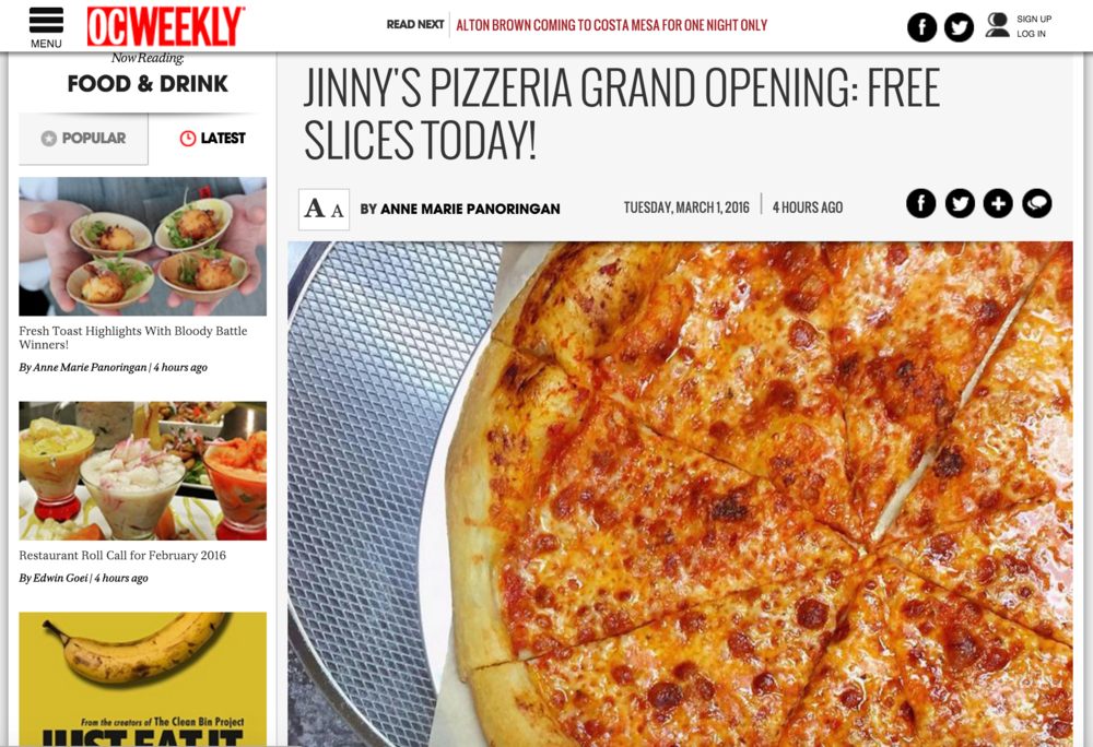 OC Weekly Article highlights 4SM's new tenant Jinny's Pizzeria's Grand Opening, as well as their special offerings on Pi Day, with mention of 4SM's neighboring tenant, Sit Low Pho