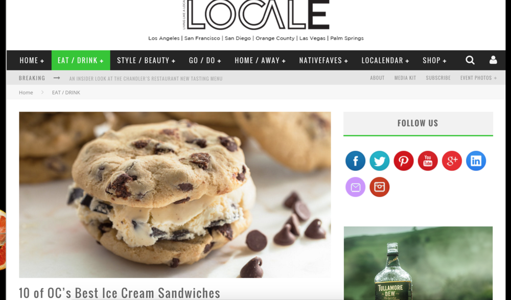 Locale Article highlights 4SM's Chunk N Chip and names them one of the ten best Ice Cream Sandwiches in OC, and explains their signature flavors and store hours