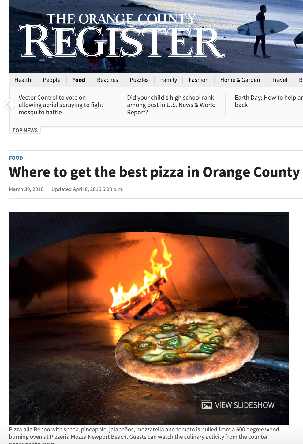 OC Register Article highlights where to get the best pizza in orange county and lists 4SM's Jinny's Pizzeria