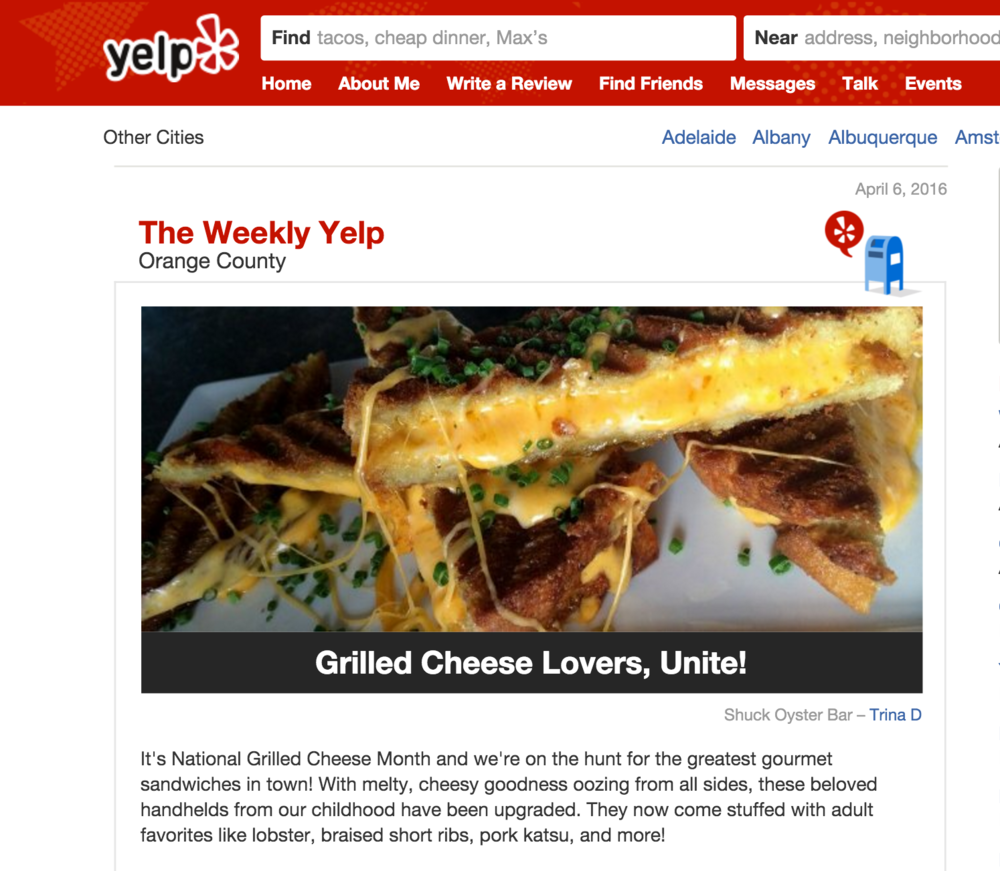 Weekly Yelp lists where to indulge during National Grilled Cheese Month, and highlights Shuck's gourmet lobster grilled cheese