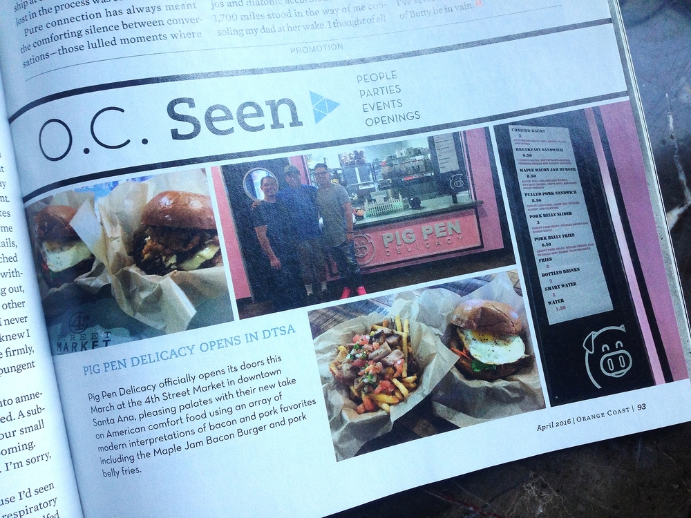 Orange Coast Mag Article highlights 4SM's Pig Pen Delicacy's March opening