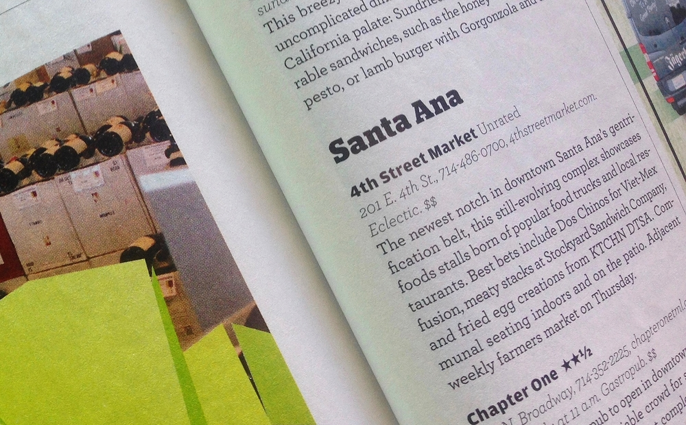 Orange Coast Mag Article highlights 4SM in their 2016 Dining Guide, Santa Ana section
