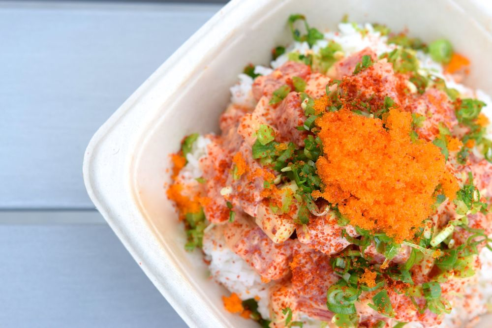 Hawaiian style Poke bowls and creative Musubis at Cubed | photo courtesy of 100eats