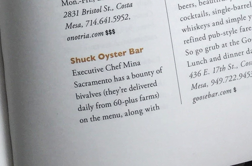Modern Luxury's 2016 Food & Drink guide highlight's Shuck in The OC Mix, Costa Mesa
