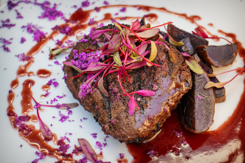Purple Rain  steak course, from a Prince-inspired tasting menu from Chef Niki Star at Mesa | photo courtesy of Jared Sandoval