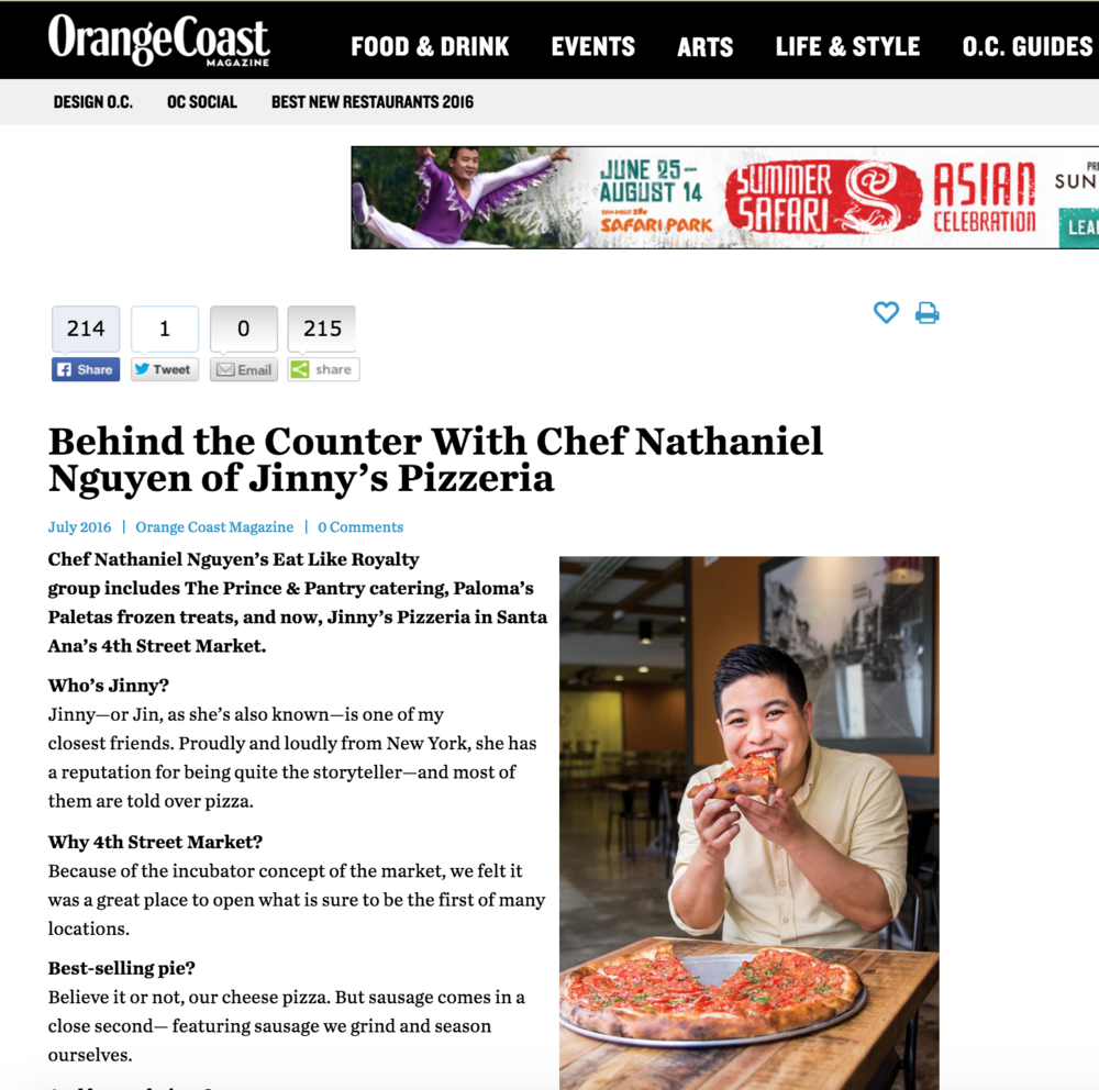 Orange Coast Mag Article highlights 4SM's Jinny's Pizzeria