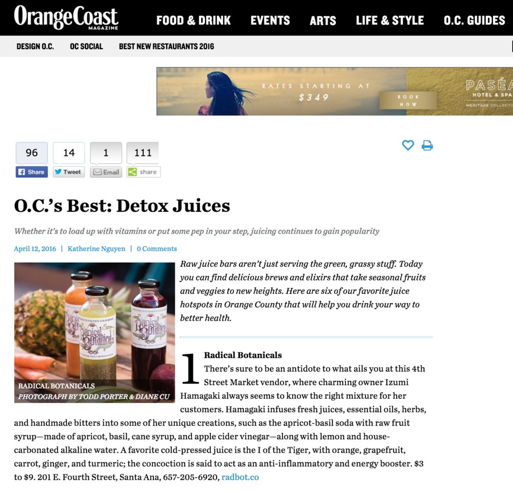 Orange Coast Mag Article highlights the trend of raw juice bars, and lists 4SM's Radical Botanicals first on their list of juiceries in Orange County