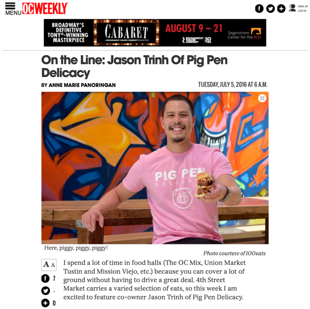 OC Weekly Interview Article highlights Jason Trinh of Pig Pen Delicacy