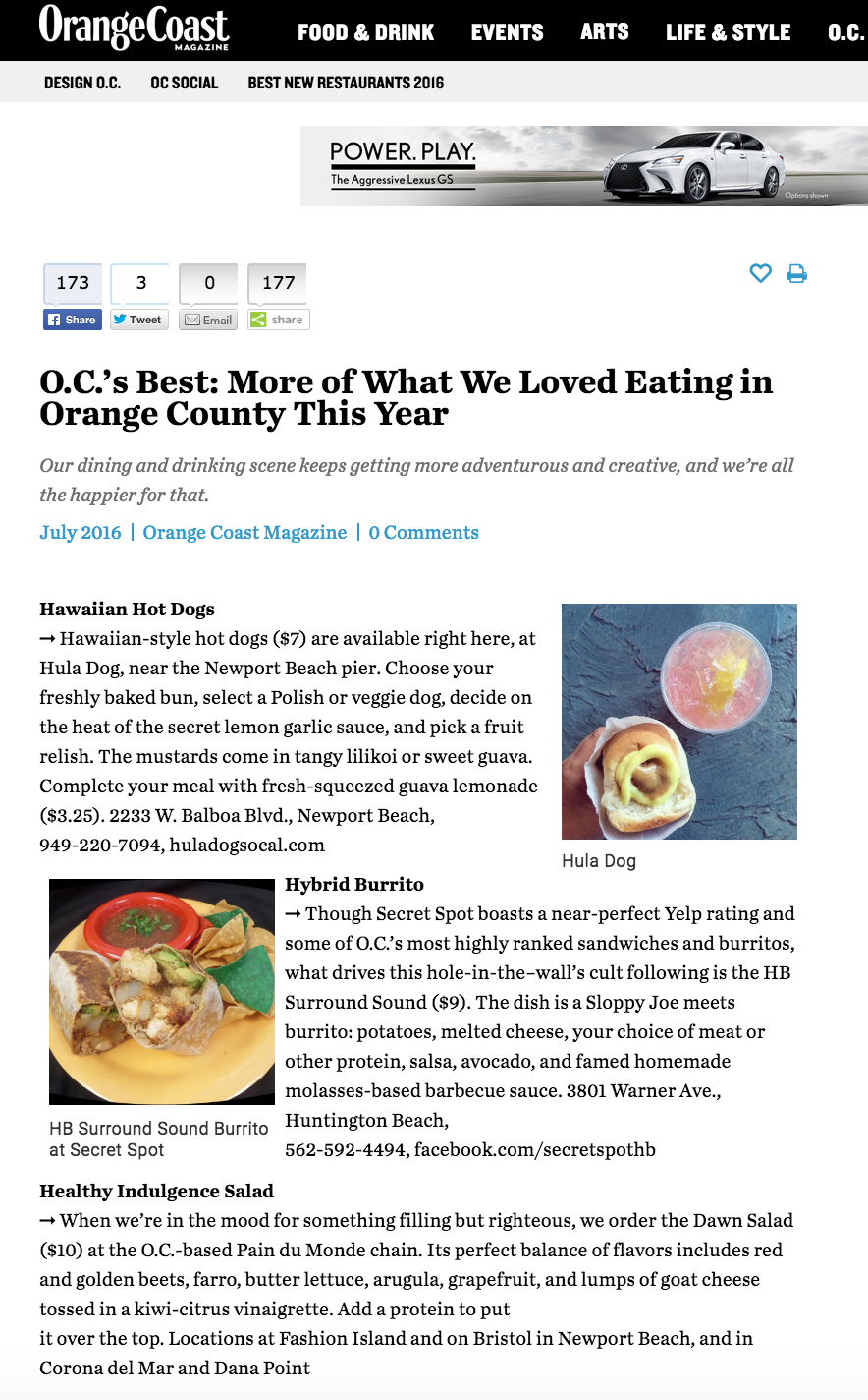 Orange Coast Mag Article highlights 4SM's Best, including Poke Fries from Mar