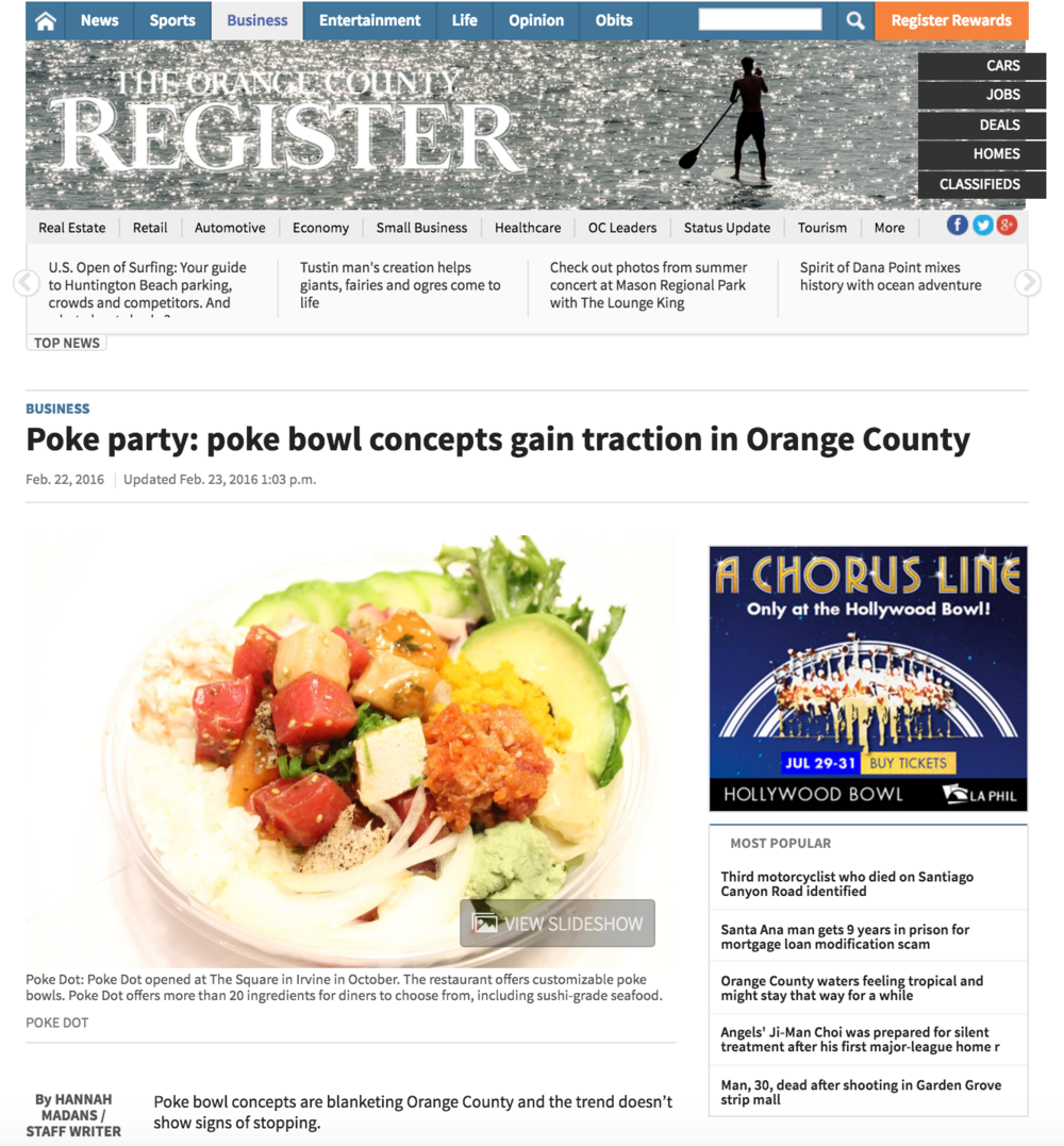 OC Register Article discusses the Poke Bowl trend in OC and highlights 4SM's Mar