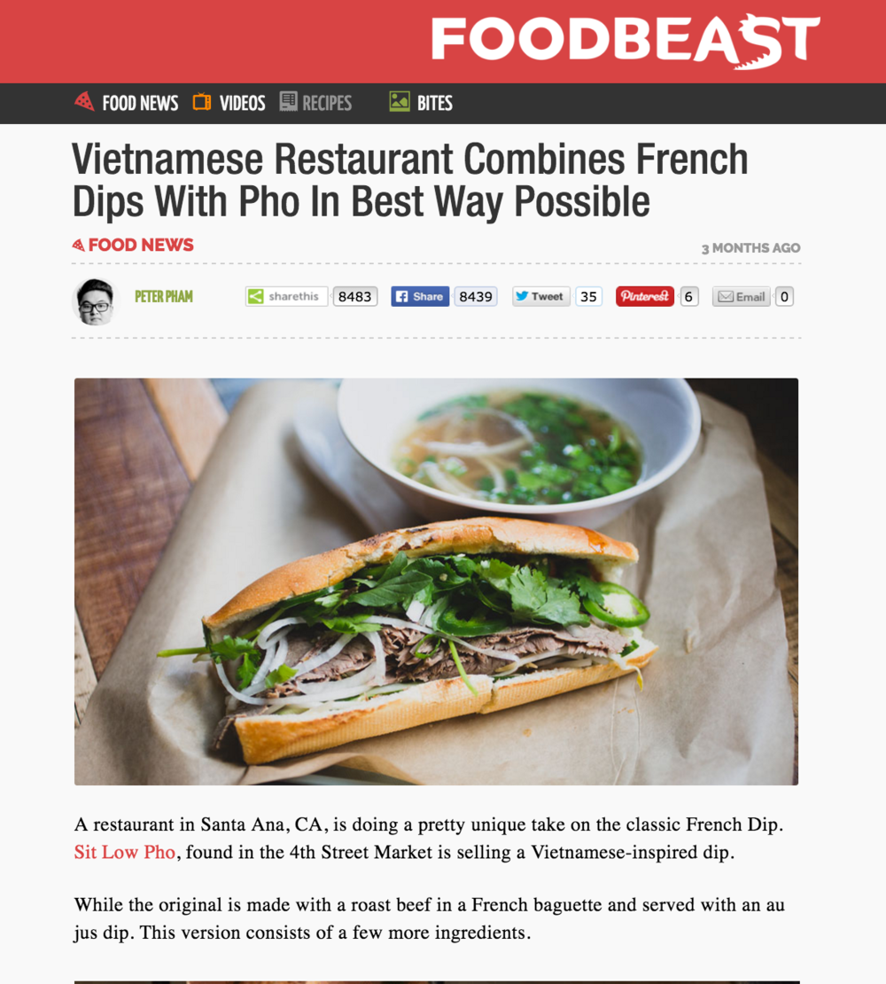 Foodbeast Article highlights 4SM's Sit Low Pho and their Pho French Dip Banh Mi
