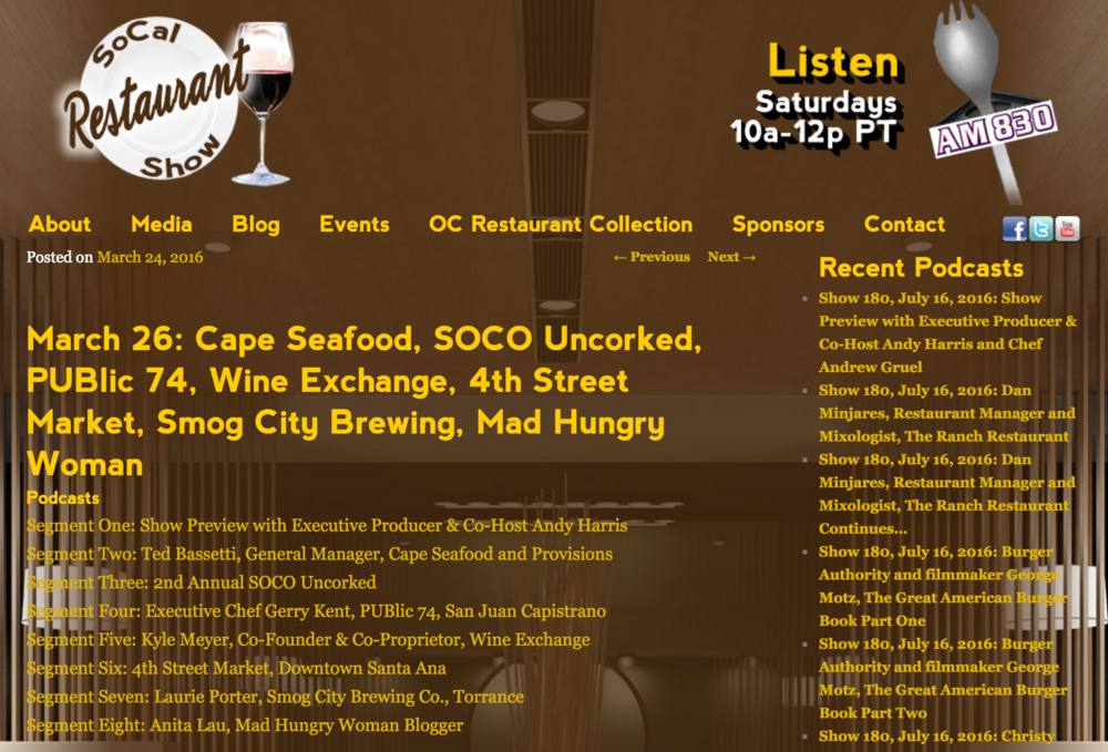 SoCal Restaurant Show Podcast previews segment 6, highlighting 4SM's 1 year anniversary