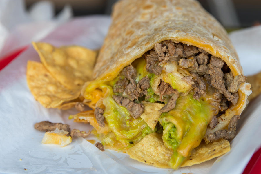TGUNZ Burrito: rolled taco-stuffed quesadilla-wrapped burrito | photo courtesy of FOODBEAST