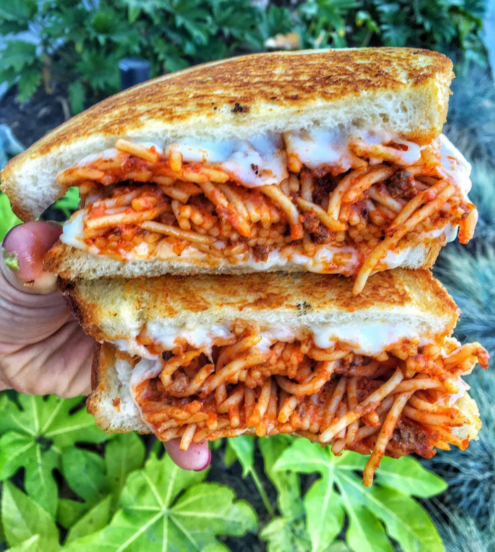 Burnt Crumb's Spaghetti Grilled Cheese | Photo courtesy of Buddy Clay, @foodieoc on Instagram