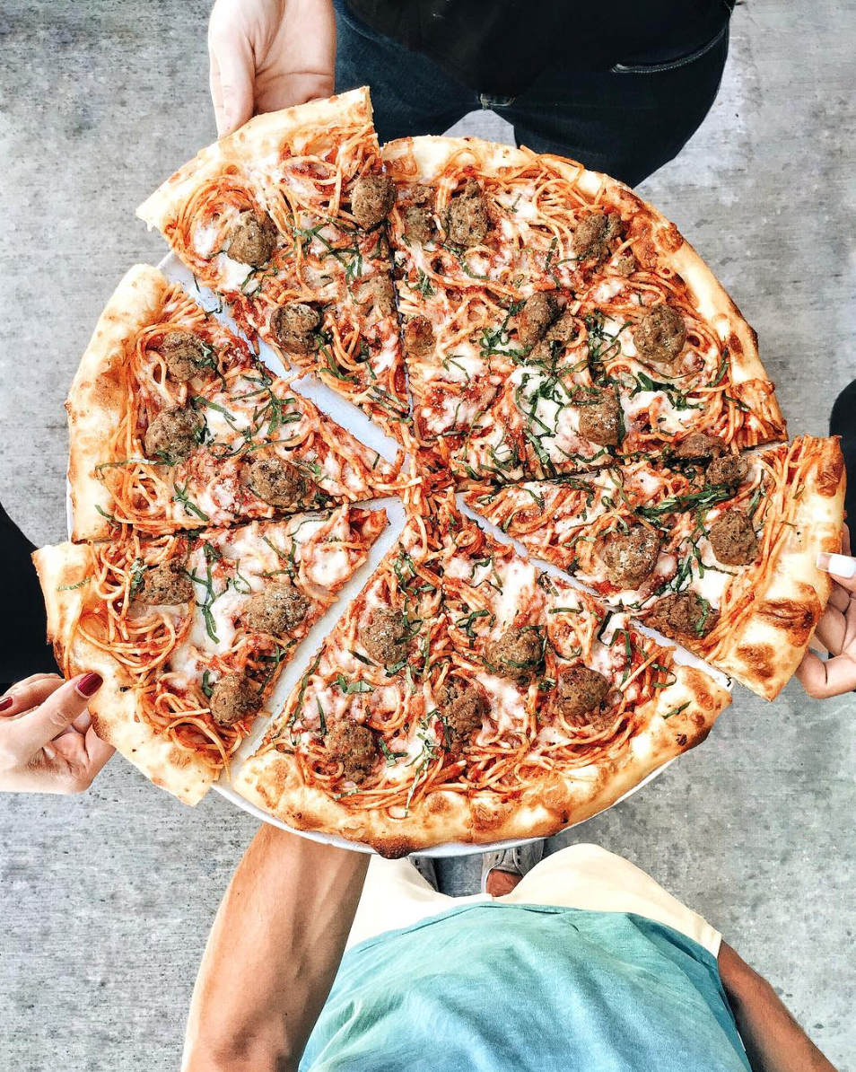 Jinny's Spaghetti & Meatball Pizza | photo courtesy of @foodwithmichel on Instagram