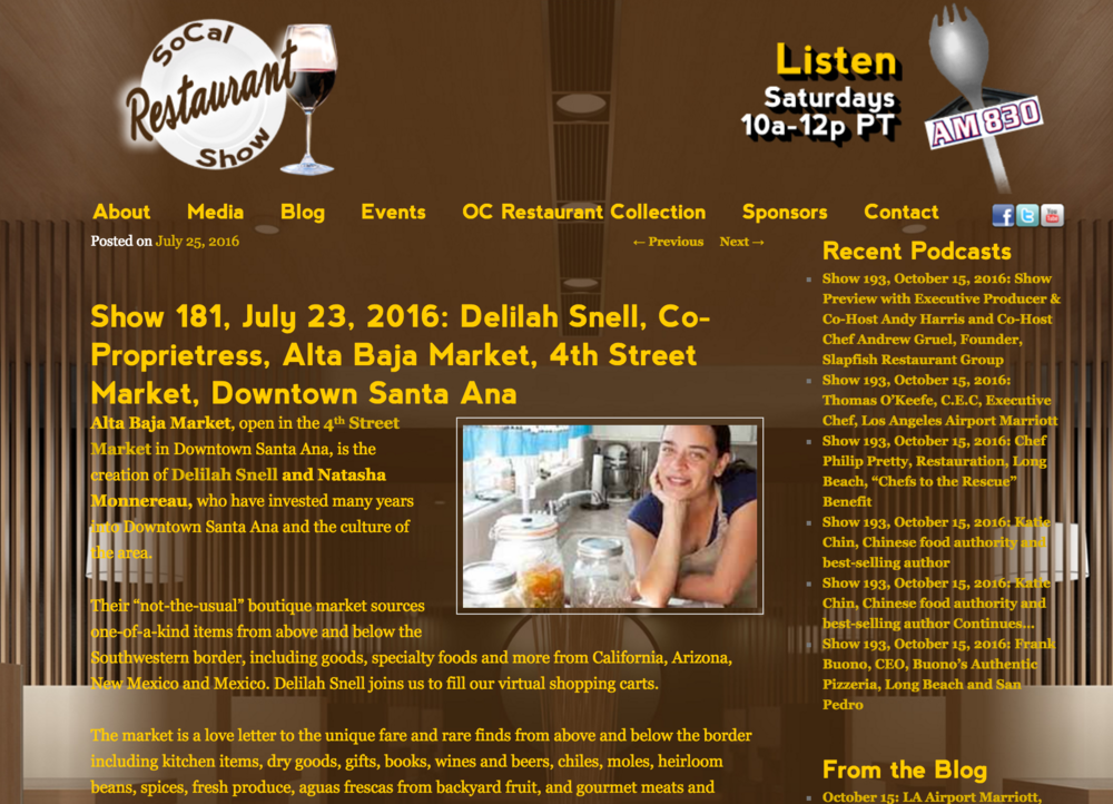 SoCal Restaurant Show features Alta Baja of 4SM and an interview with the owners
