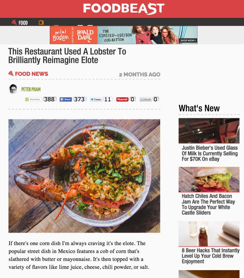 Foodbeast Article highlights Dos Chinos' new Lobster Elote