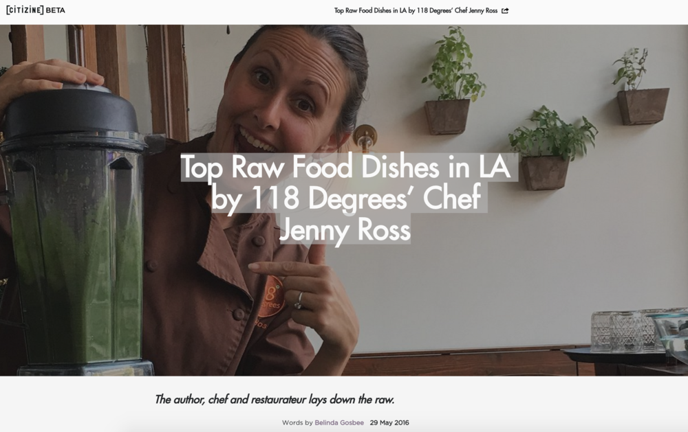 Citizine Article highlights Jenny Ross and her knowledge of 'RAW' dishes
