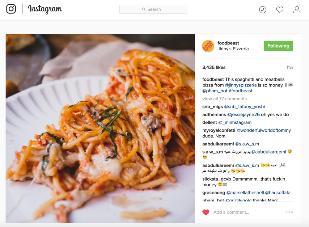 Foodbeast Instagram post highlights Jinny's new Spaghetti & Meatball Pizza