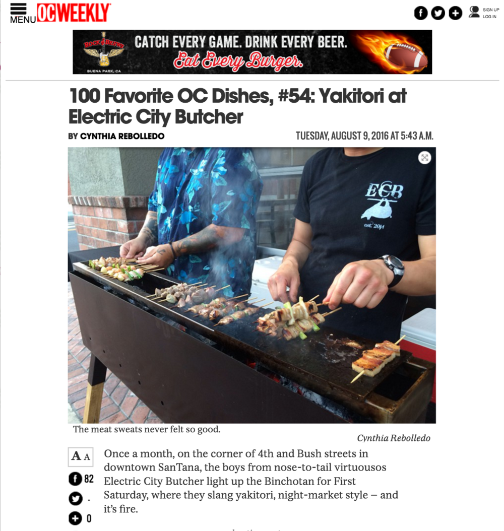 OC Weekly article highlights 4SM's ECB and their montly Yakitori