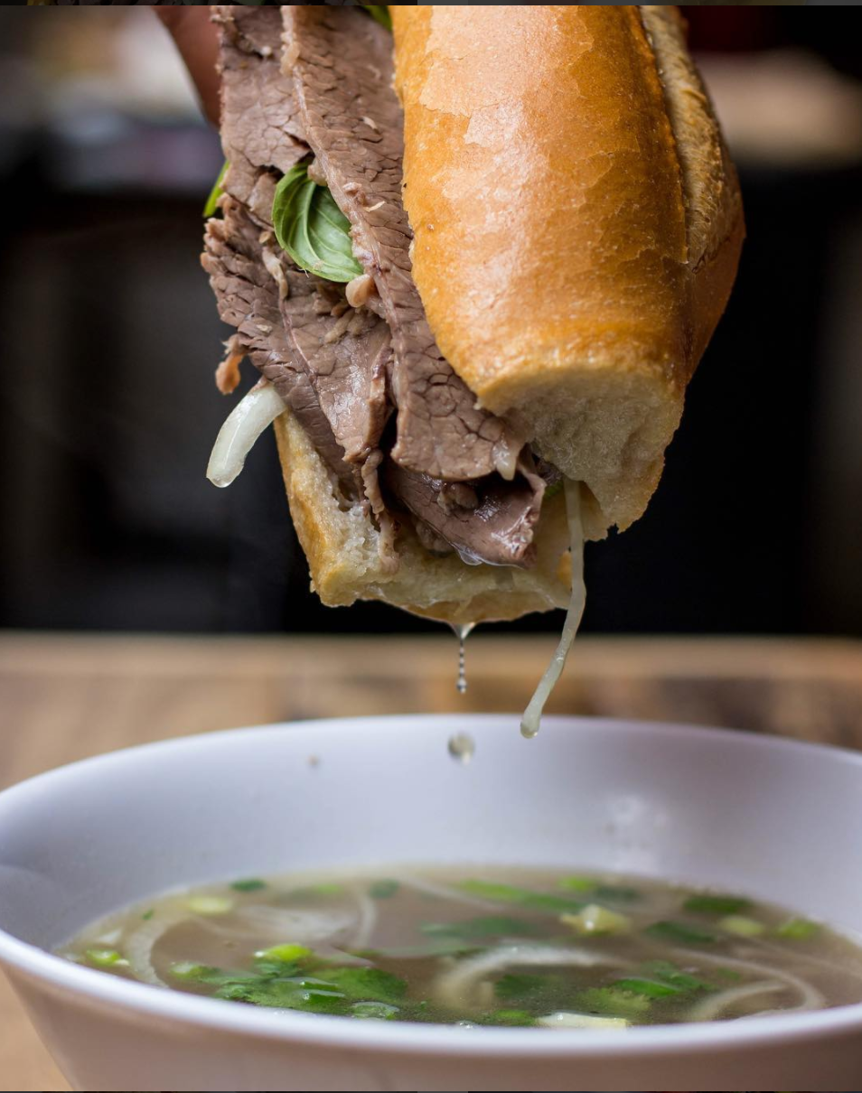 Vietnamese Pho French Dip Banh Mi | photo courtesy of @snaptaste on instagram