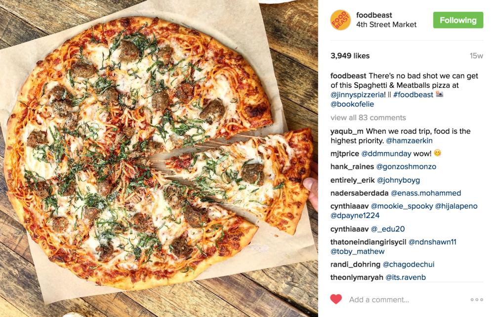Foodbeast Instagram posts highlight Jinny's Spaghetti & Meatball Pizza