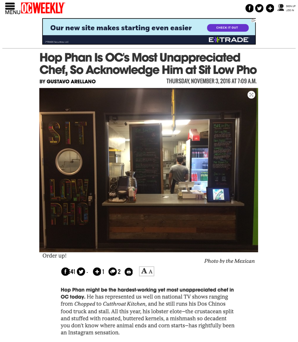 OC Weekly article highlights 4SM's Dos Chinos & Sit Low Pho Owner and Chef, Hop Phan