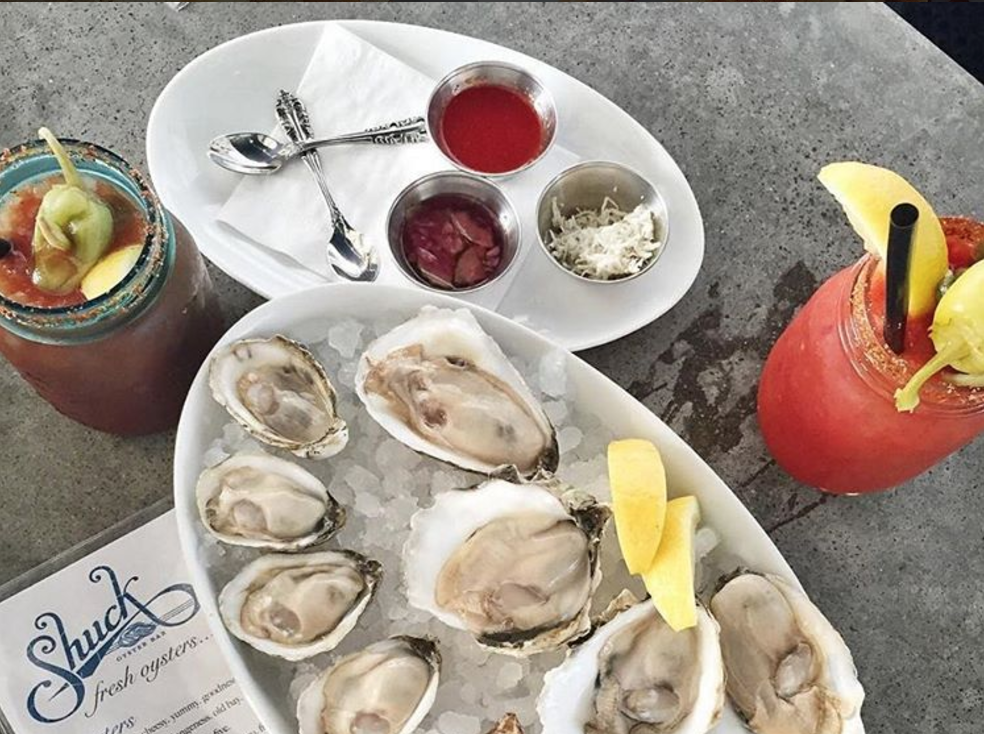 Shuck's Soju-based Bloody with oysters | Photo courtesy of @foodieonfleek on Instagram