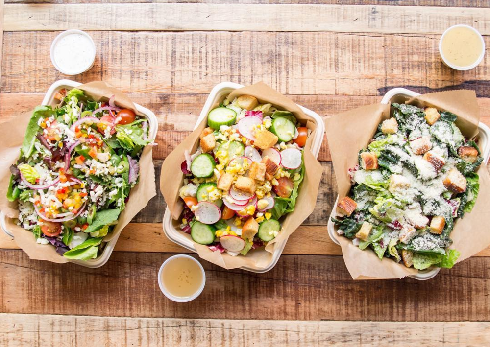 From left, Jinny's Italian, House, and California Caesar Salads | photo courtesy of Frances Tang