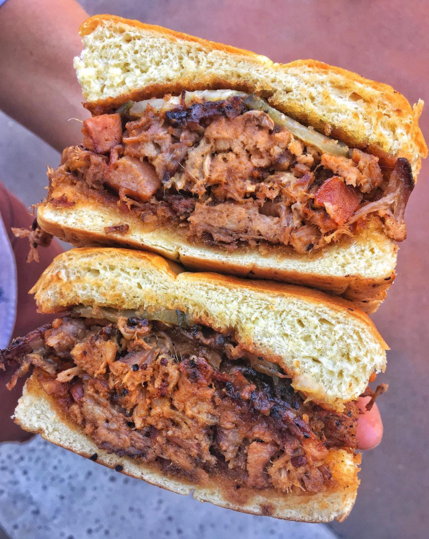 Texas chop sandwich from Meat Up BBQ with brisket, pulled pork, sausage AND bacon, coming to the MEAT STREET Marketplace | photo courtesy of Foodbeast