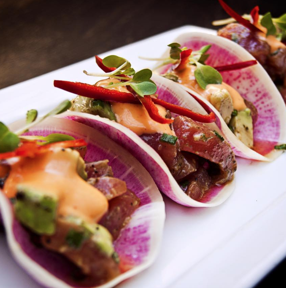 "Ahi Tuna ""Tacos"" at Mesa are served in watermelon radish shells"