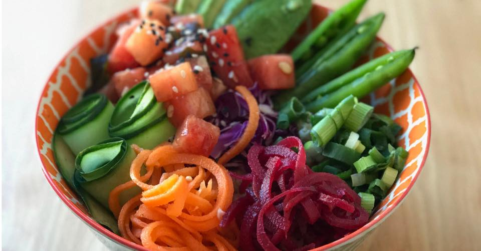 Watermelon Poke Bowl at Native Foods Cafe is exceptionally colorful and flavorful