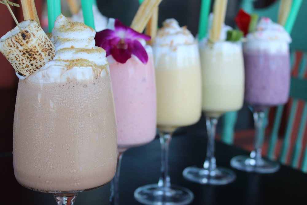 Milkshakes at The Straw feature creative flavor combinations such as deep fried garlic + chocolate, strawberry + rose water and more | photo courtesy of 100eats