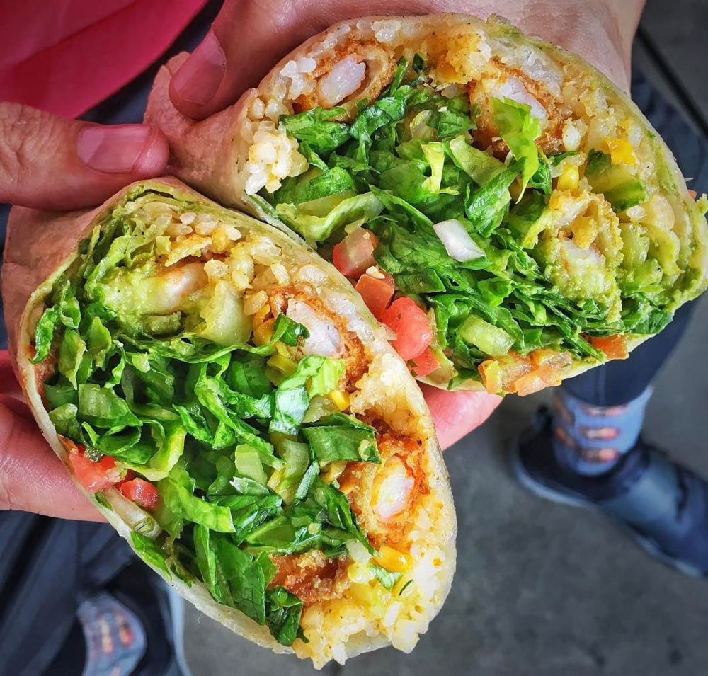 West Coast Fish's savory Crispy Shrimp Wrap | photo courtesy of Marc Kharrat