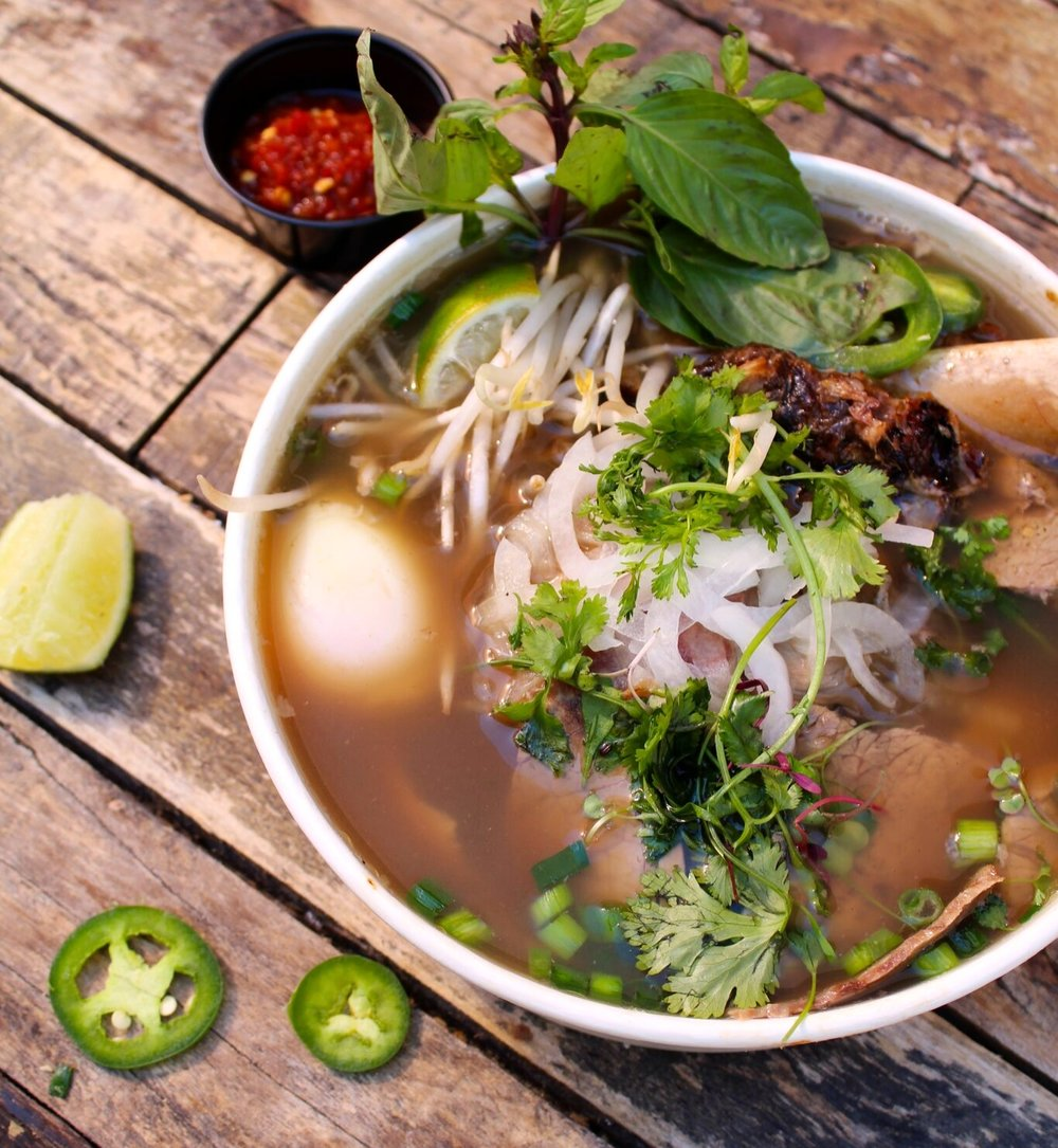 Load up on fantastic Pho and other noodle-focused fusion dishes at Red Envelope at 4th St Market in Santa Ana
