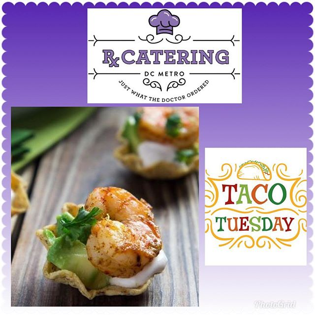 """""""Taco Tuesday""""...trying something different at Rx - Shrimp Taco Bites!! 🌮🍤 Give us a call if you'd like to have some at your next party!! We cook with 💜! 703-535-6955  #rxcateringdc #tacotuesday #taco #mexicanfood #catering #cateringlife #trysomethingnew #yummymummy #dcfoodporn #dcfoodie #cateringservice #smallbiz #smallbusiness #blackownedbusiness #womanownedbusiness #entrepreneur #letuscookforyou #whycook"""