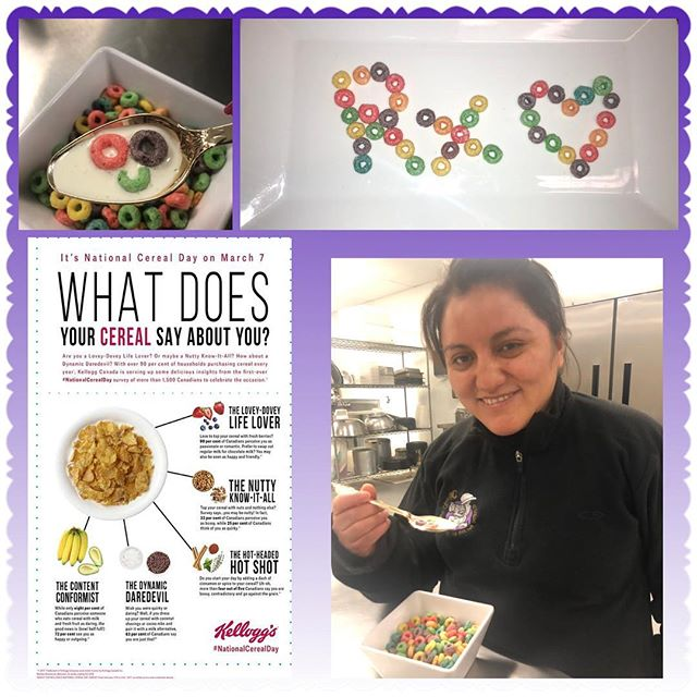 Caught Helen eating her favorite cereal this morning - how appropriate on #NationalCerealDay!  We cook with 💜! 703-535-6955  #rxcateringdc #cereal #cerealday #breakfastcereal #takingabreak #thereisacelebrationforeverything #itscerealtime #fruitloops