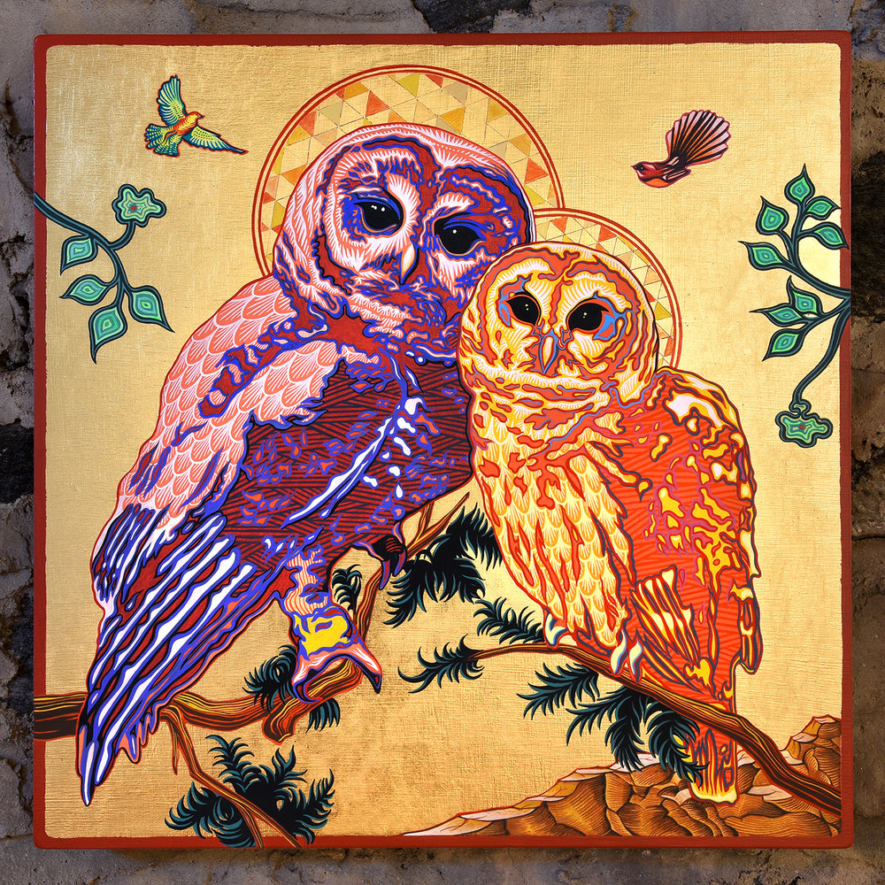 Spotted Owl Icon I , 16 in. x 16 in., Gouache & gold leaf on panel. 2017.  Click here to view more from the  Icon Series