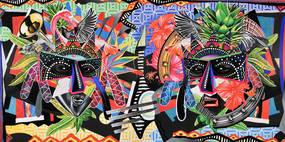 Junkanoo Masquerade  - A permanent, site-specific artwork commissioned for the Warwick Hotel Paradise Island (Bahamas). Acrylic & mixed-media on canvas. 132 in. x 66 in.  Click here to view the work  in situ  & to learn more about this special commission